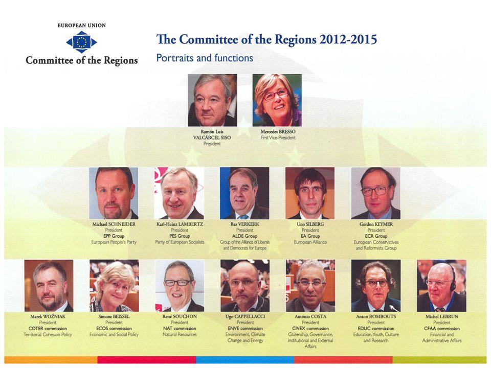 Organisatie van het Comité van de Regio's Voorzitter Secretaris-generaal Kabinet van de secretaris-generaal Commissies EDUC+CIVEX Commissies ECOS+COTER Commissies NAT+ENVE Coördinatie, follow-up, enz.
