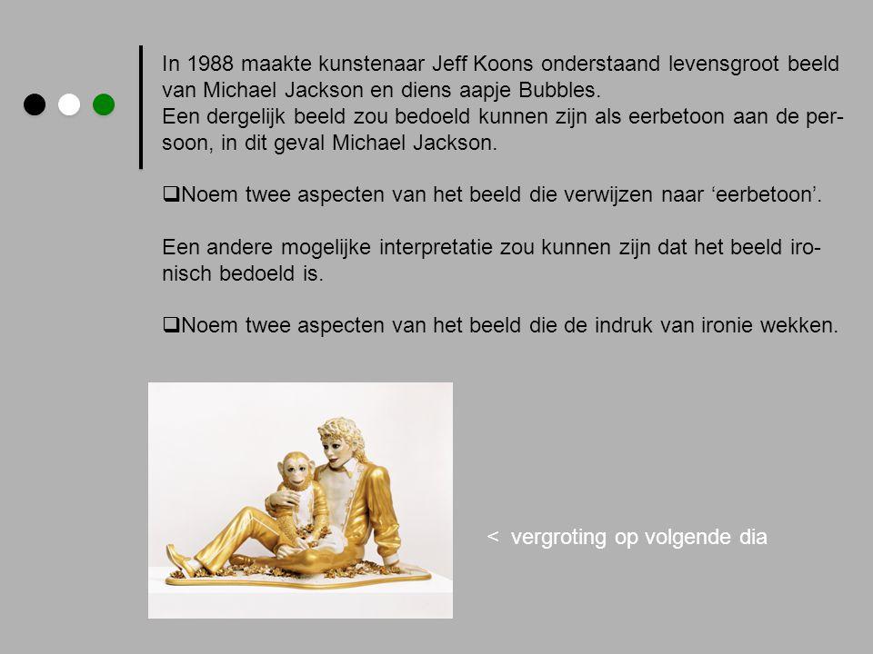 In 1988 maakte kunstenaar Jeff Koons onderstaand levensgroot beeld van Michael Jackson en diens aapje Bubbles. Een dergelijk beeld zou bedoeld kunnen