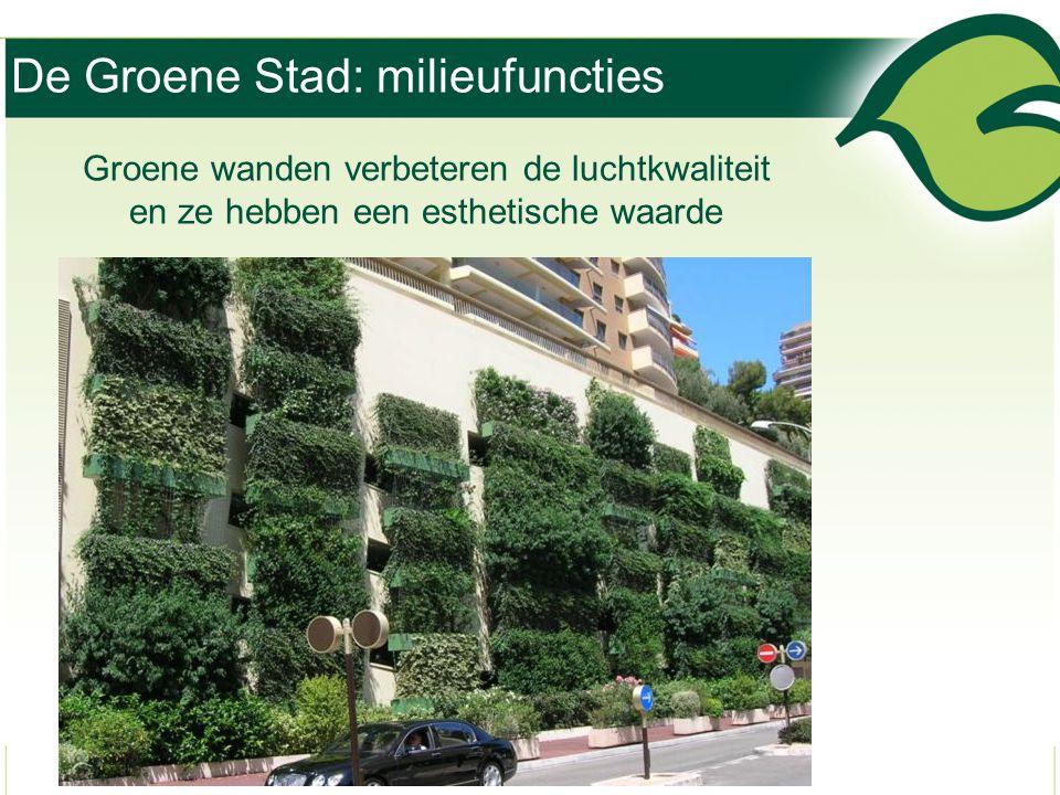 De Groene Stad: milieufuncties Groene wanden verbeteren de luchtkwaliteit en ze hebben een esthetische waarde