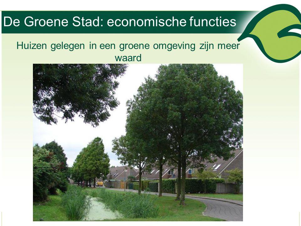 De Groene Stad: economische functies Huizen gelegen in een groene omgeving zijn meer waard