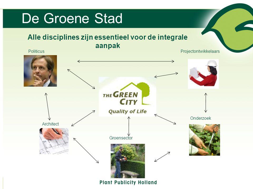 De Groene Stad Alle disciplines zijn essentieel voor de integrale aanpak Politicus Architect Groensector Onderzoek Projectontwikkelaars