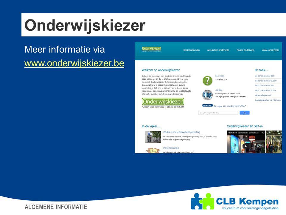 Onderwijskiezer Meer informatie via www.onderwijskiezer.be
