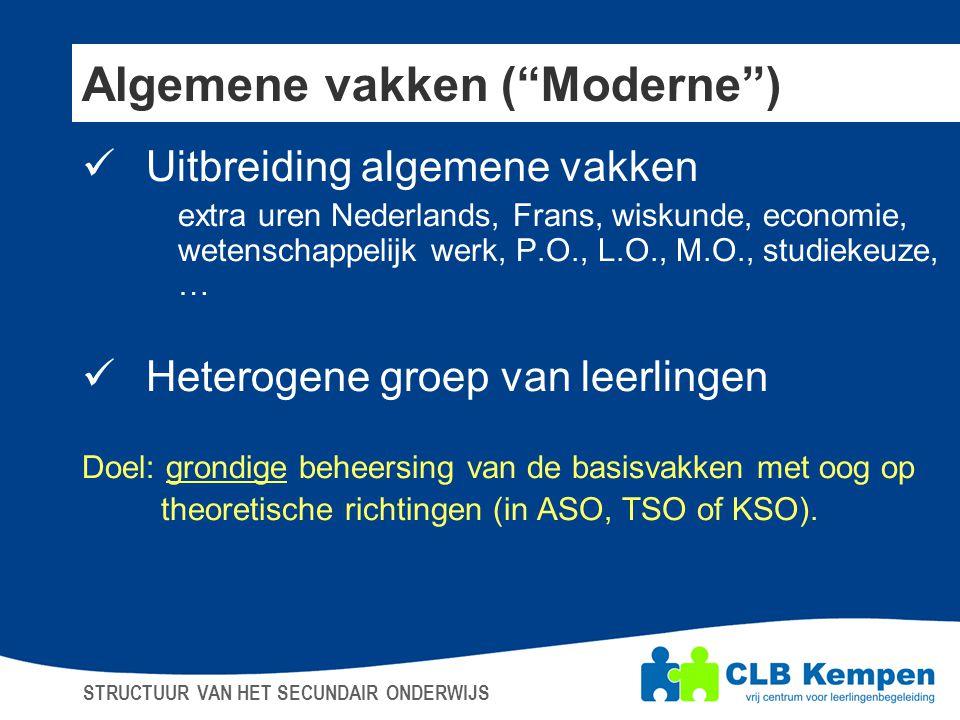 """Algemene vakken (""""Moderne"""")  Uitbreiding algemene vakken extra uren Nederlands, Frans, wiskunde, economie, wetenschappelijk werk, P.O., L.O., M.O., s"""