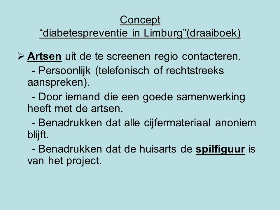 Concept diabetespreventie in Limburg (draaiboek)  Artsen uit de te screenen regio contacteren.