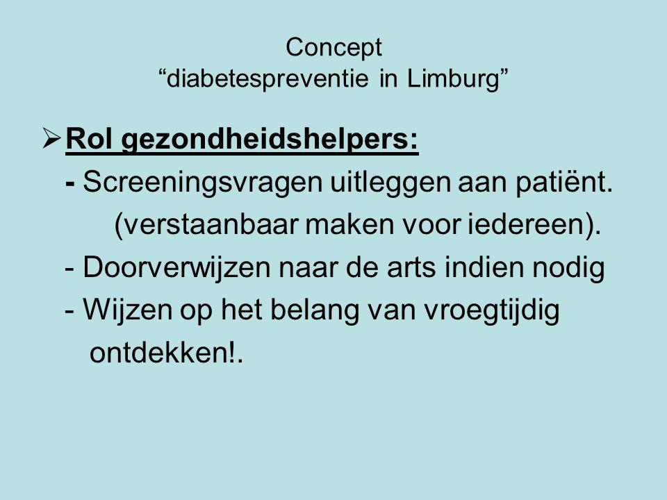 Concept diabetespreventie in Limburg  Rol gezondheidshelpers: - Screeningsvragen uitleggen aan patiënt.
