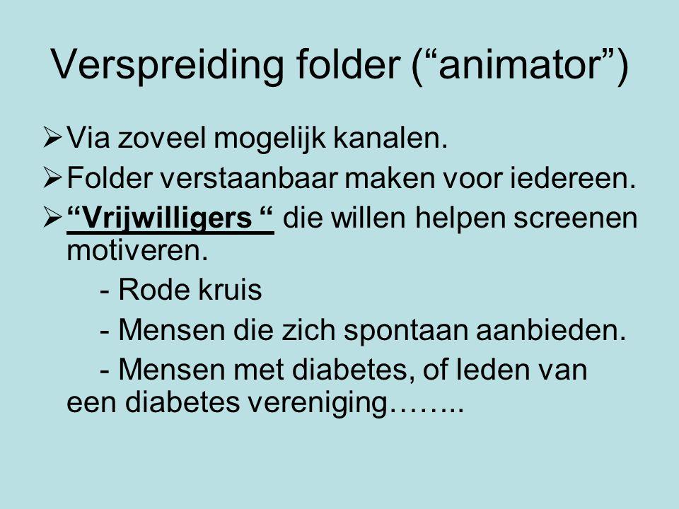 Verspreiding folder ( animator )  Via zoveel mogelijk kanalen.