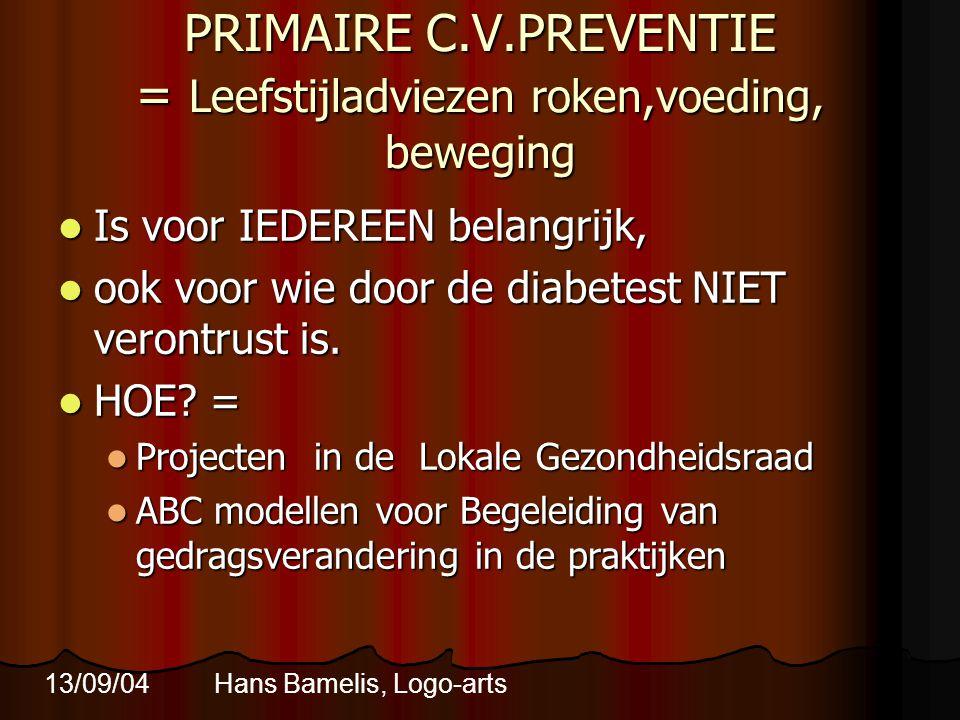 PRIMAIRE C.V.PREVENTIE = Leefstijladviezen roken,voeding, beweging  Is voor IEDEREEN belangrijk,  ook voor wie door de diabetest NIET verontrust is.