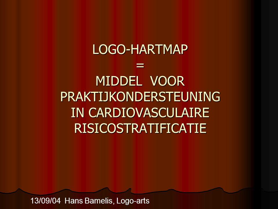 LOGO-HARTMAP = MIDDEL VOOR PRAKTIJKONDERSTEUNING IN CARDIOVASCULAIRE RISICOSTRATIFICATIE 13/09/04 Hans Bamelis, Logo-arts