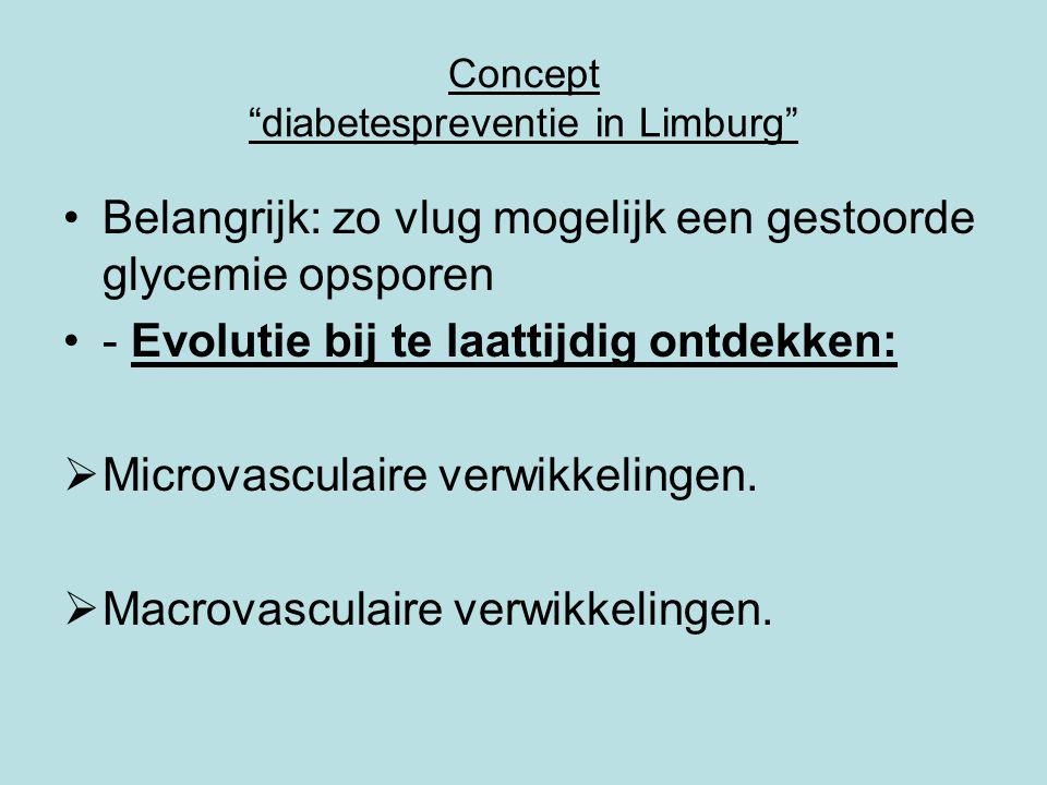Concept diabetespreventie in Limburg •Micro-en macrovasculaire stoornissen uiten zich in.