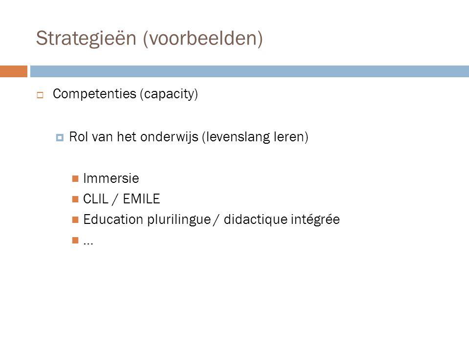 Strategieën (voorbeelden)  Competenties (capacity)  Rol van het onderwijs (levenslang leren)  Immersie  CLIL / EMILE  Education plurilingue / did
