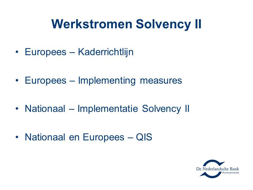 Werkstromen Solvency II •Europees – Kaderrichtlijn •Europees – Implementing measures •Nationaal – Implementatie Solvency II •Nationaal en Europees – QIS