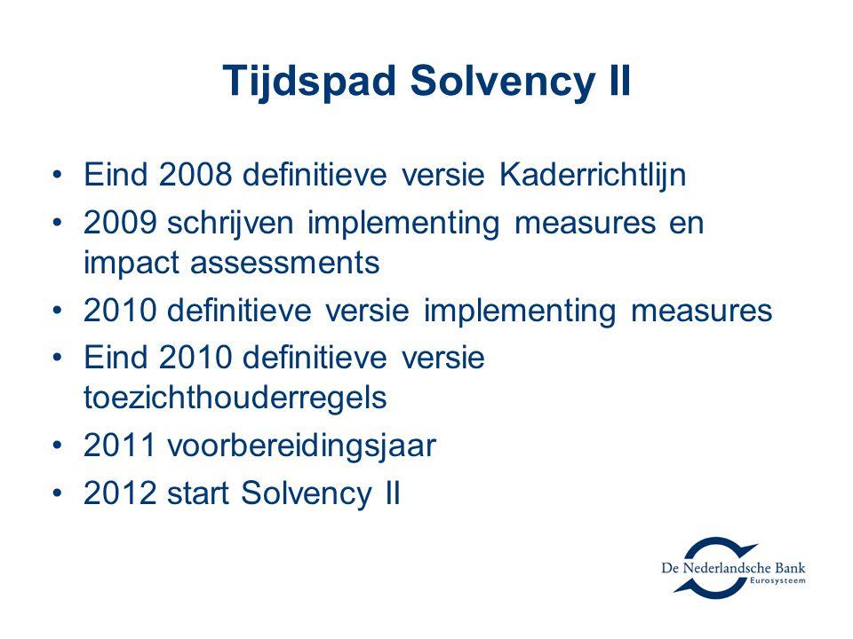 Tijdspad Solvency II •Eind 2008 definitieve versie Kaderrichtlijn •2009 schrijven implementing measures en impact assessments •2010 definitieve versie implementing measures •Eind 2010 definitieve versie toezichthouderregels •2011 voorbereidingsjaar •2012 start Solvency II