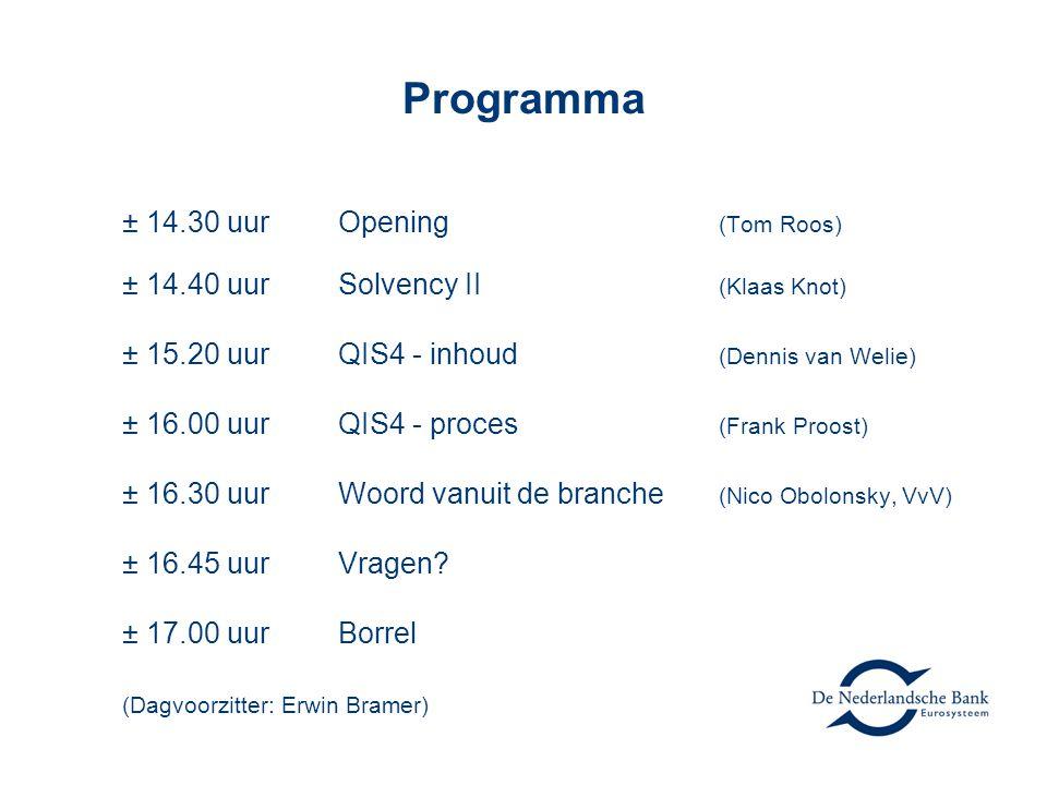 Programma ± 14.30 uurOpening (Tom Roos) ± 14.40 uurSolvency II (Klaas Knot) ± 15.20 uurQIS4 - inhoud (Dennis van Welie) ± 16.00 uurQIS4 - proces (Frank Proost) ± 16.30 uurWoord vanuit de branche (Nico Obolonsky, VvV) ± 16.45 uurVragen.