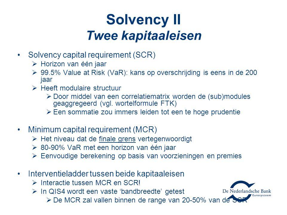 Solvency II Twee kapitaaleisen •Solvency capital requirement (SCR)  Horizon van één jaar  99.5% Value at Risk (VaR): kans op overschrijding is eens in de 200 jaar  Heeft modulaire structuur  Door middel van een correlatiematrix worden de (sub)modules geaggregeerd (vgl.