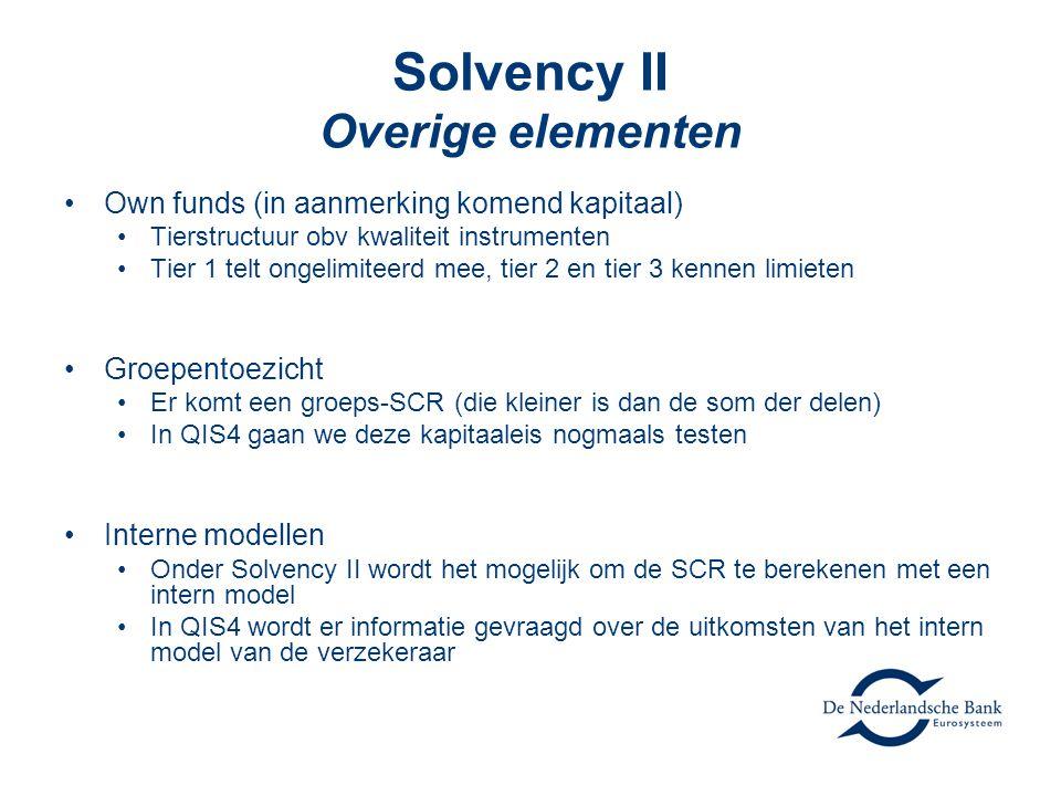 Solvency II Overige elementen •Own funds (in aanmerking komend kapitaal) •Tierstructuur obv kwaliteit instrumenten •Tier 1 telt ongelimiteerd mee, tier 2 en tier 3 kennen limieten •Groepentoezicht •Er komt een groeps-SCR (die kleiner is dan de som der delen) •In QIS4 gaan we deze kapitaaleis nogmaals testen •Interne modellen •Onder Solvency II wordt het mogelijk om de SCR te berekenen met een intern model •In QIS4 wordt er informatie gevraagd over de uitkomsten van het intern model van de verzekeraar