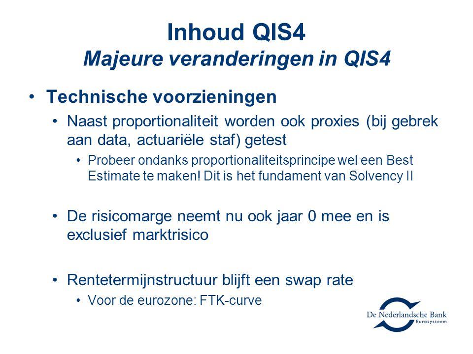 Inhoud QIS4 Majeure veranderingen in QIS4 •Technische voorzieningen •Naast proportionaliteit worden ook proxies (bij gebrek aan data, actuariële staf) getest •Probeer ondanks proportionaliteitsprincipe wel een Best Estimate te maken.
