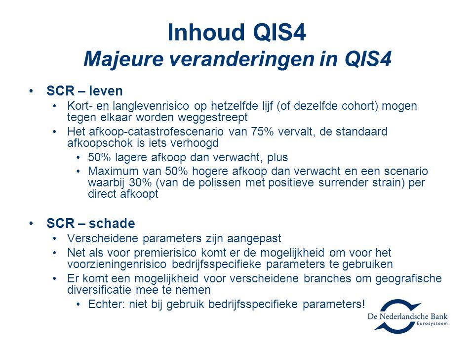 Inhoud QIS4 Majeure veranderingen in QIS4 •SCR – leven •Kort- en langlevenrisico op hetzelfde lijf (of dezelfde cohort) mogen tegen elkaar worden weggestreept •Het afkoop-catastrofescenario van 75% vervalt, de standaard afkoopschok is iets verhoogd •50% lagere afkoop dan verwacht, plus •Maximum van 50% hogere afkoop dan verwacht en een scenario waarbij 30% (van de polissen met positieve surrender strain) per direct afkoopt •SCR – schade •Verscheidene parameters zijn aangepast •Net als voor premierisico komt er de mogelijkheid om voor het voorzieningenrisico bedrijfsspecifieke parameters te gebruiken •Er komt een mogelijkheid voor verscheidene branches om geografische diversificatie mee te nemen •Echter: niet bij gebruik bedrijfsspecifieke parameters!