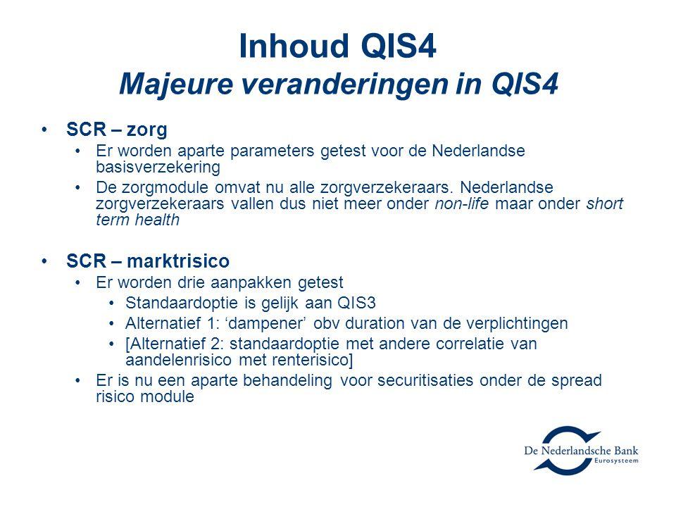 Inhoud QIS4 Majeure veranderingen in QIS4 •SCR – zorg •Er worden aparte parameters getest voor de Nederlandse basisverzekering •De zorgmodule omvat nu alle zorgverzekeraars.