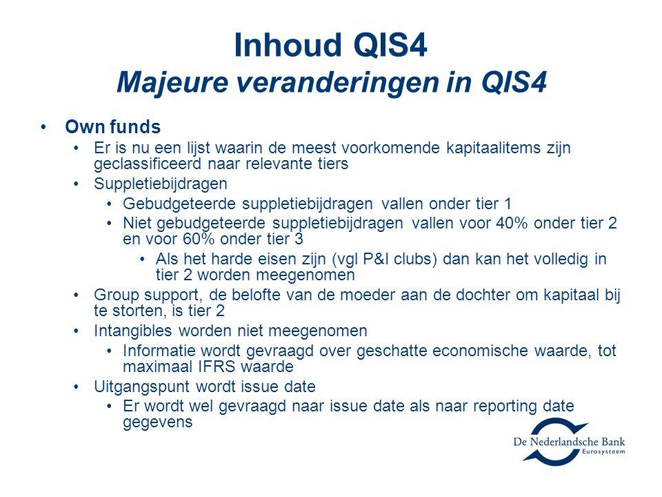 Inhoud QIS4 Majeure veranderingen in QIS4 •Own funds •Er is nu een lijst waarin de meest voorkomende kapitaalitems zijn geclassificeerd naar relevante tiers •Suppletiebijdragen •Gebudgeteerde suppletiebijdragen vallen onder tier 1 •Niet gebudgeteerde suppletiebijdragen vallen voor 40% onder tier 2 en voor 60% onder tier 3 •Als het harde eisen zijn (vgl P&I clubs) dan kan het volledig in tier 2 worden meegenomen •Group support, de belofte van de moeder aan de dochter om kapitaal bij te storten, is tier 2 •Intangibles worden niet meegenomen •Informatie wordt gevraagd over geschatte economische waarde, tot maximaal IFRS waarde •Uitgangspunt wordt issue date •Er wordt wel gevraagd naar issue date als naar reporting date gegevens