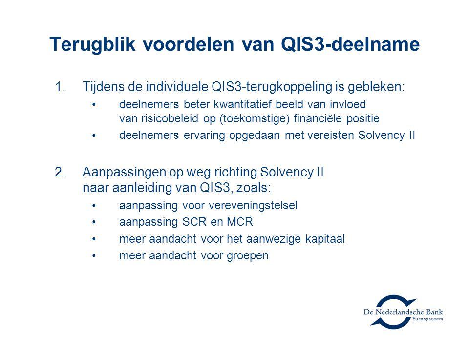 Terugblik voordelen van QIS3-deelname 1.Tijdens de individuele QIS3-terugkoppeling is gebleken: •deelnemers beter kwantitatief beeld van invloed van risicobeleid op (toekomstige) financiële positie •deelnemers ervaring opgedaan met vereisten Solvency II 2.Aanpassingen op weg richting Solvency II naar aanleiding van QIS3, zoals: •aanpassing voor vereveningstelsel •aanpassing SCR en MCR •meer aandacht voor het aanwezige kapitaal •meer aandacht voor groepen
