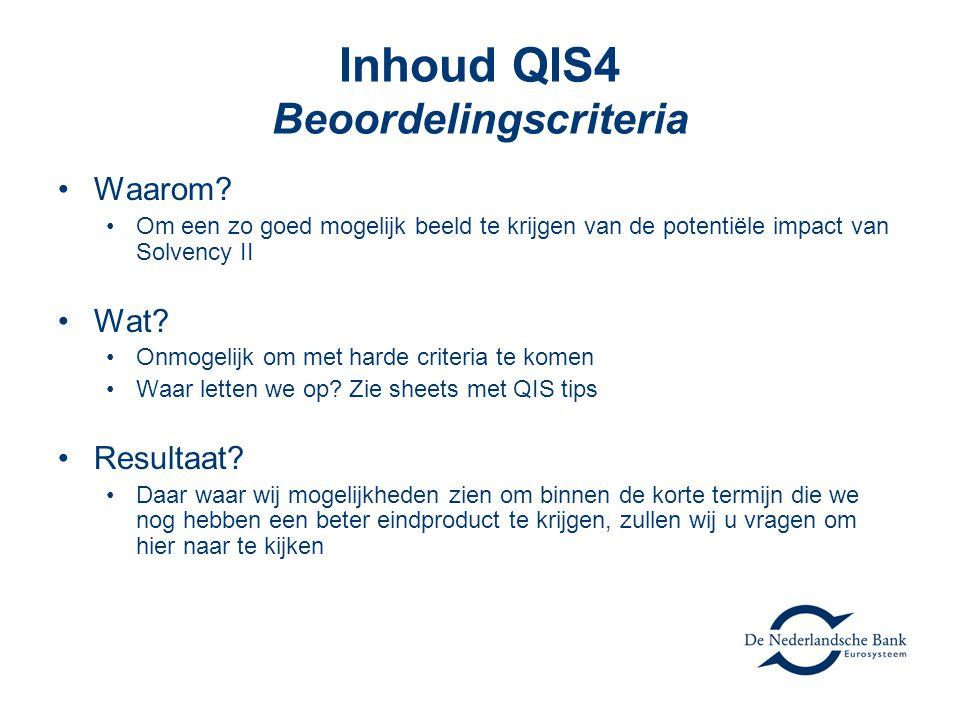 Inhoud QIS4 Beoordelingscriteria •Waarom.