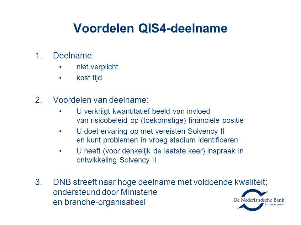 De rol van QIS 4 •Bedrijfsvoering nu en straks •Voorbereiding risico-gebaseerd toezicht •Inzicht in de impact op Nederlandse verzekeraars •Inzicht in de werking van Solvency II en informatie ten behoeve van het schrijven van de implementing measures