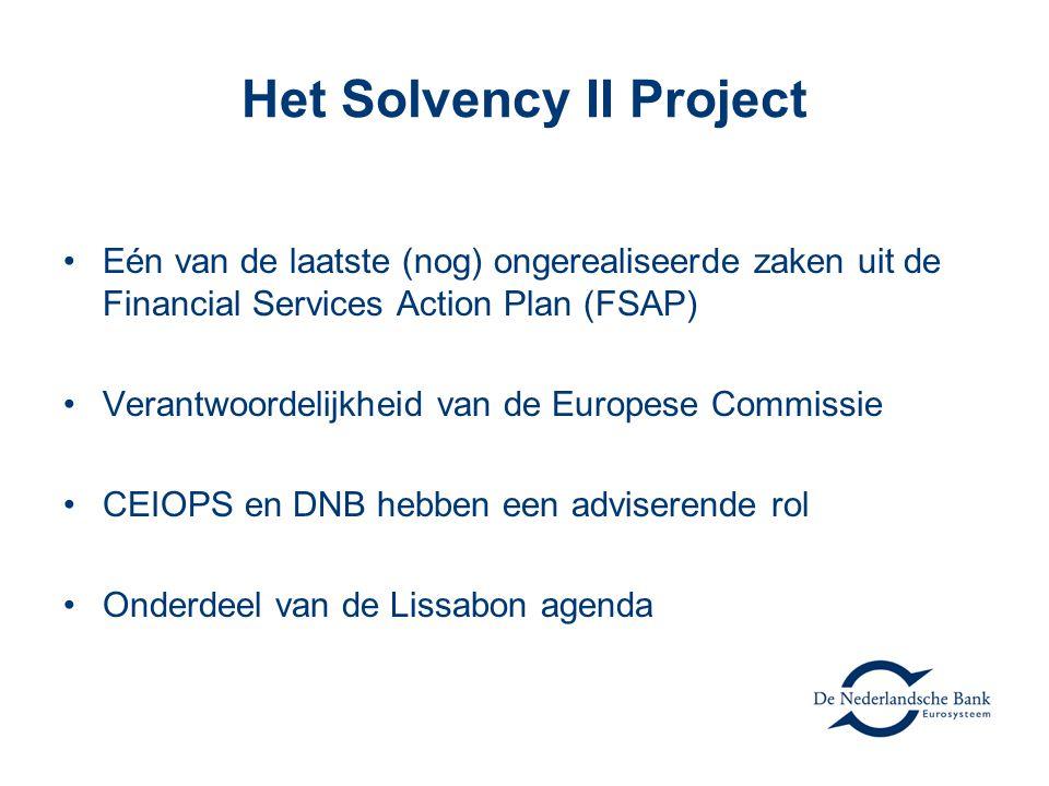 Het Solvency II Project •Eén van de laatste (nog) ongerealiseerde zaken uit de Financial Services Action Plan (FSAP) •Verantwoordelijkheid van de Europese Commissie •CEIOPS en DNB hebben een adviserende rol •Onderdeel van de Lissabon agenda