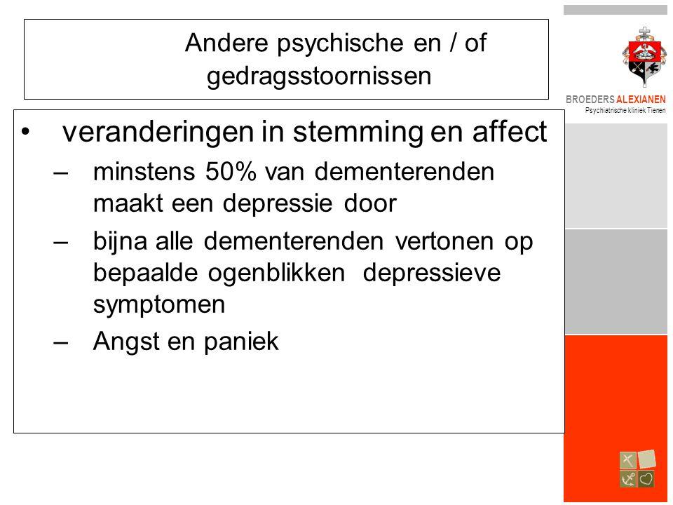 BROEDERS ALEXIANEN Psychiatrische kliniek Tienen Andere psychische en / of gedragsstoornissen •veranderingen in stemming en affect –minstens 50% van d