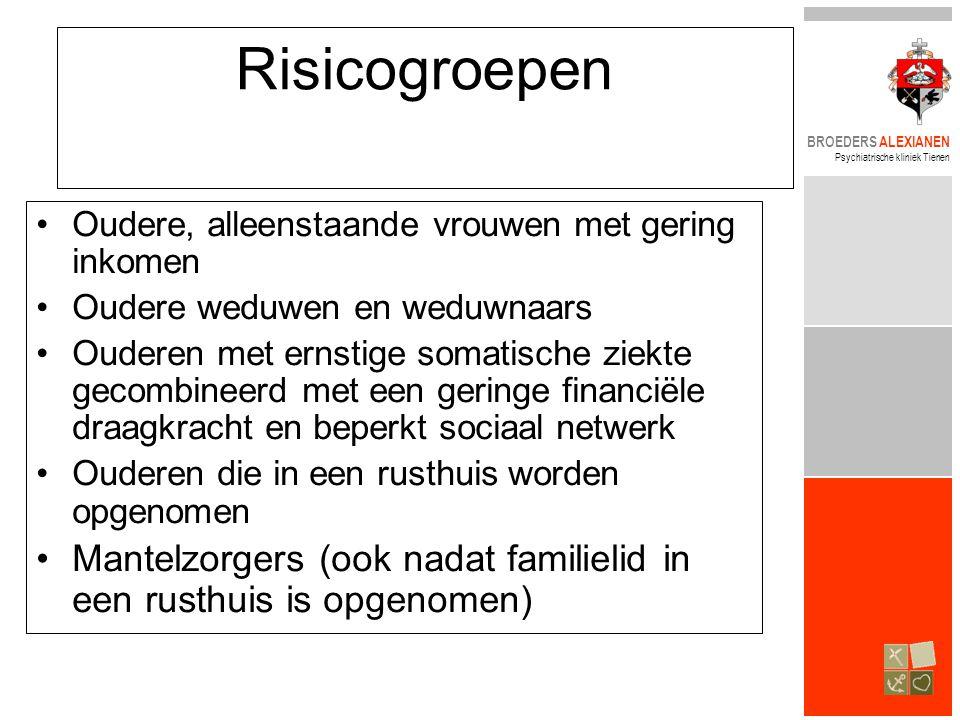 BROEDERS ALEXIANEN Psychiatrische kliniek Tienen Risicogroepen •Oudere, alleenstaande vrouwen met gering inkomen •Oudere weduwen en weduwnaars •Oudere
