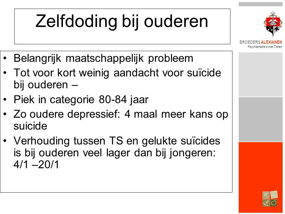 BROEDERS ALEXIANEN Psychiatrische kliniek Tienen Zelfdoding bij ouderen •Belangrijk maatschappelijk probleem •Tot voor kort weinig aandacht voor suïci