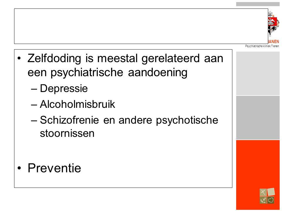 BROEDERS ALEXIANEN Psychiatrische kliniek Tienen •Zelfdoding is meestal gerelateerd aan een psychiatrische aandoening –Depressie –Alcoholmisbruik –Schizofrenie en andere psychotische stoornissen •Preventie