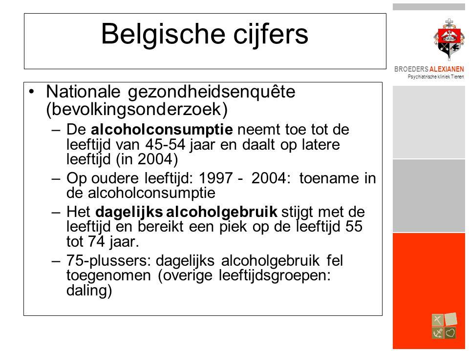 BROEDERS ALEXIANEN Psychiatrische kliniek Tienen Belgische cijfers •Nationale gezondheidsenquête (bevolkingsonderzoek) –De alcoholconsumptie neemt toe tot de leeftijd van 45-54 jaar en daalt op latere leeftijd (in 2004) –Op oudere leeftijd: 1997 - 2004: toename in de alcoholconsumptie –Het dagelijks alcoholgebruik stijgt met de leeftijd en bereikt een piek op de leeftijd 55 tot 74 jaar.