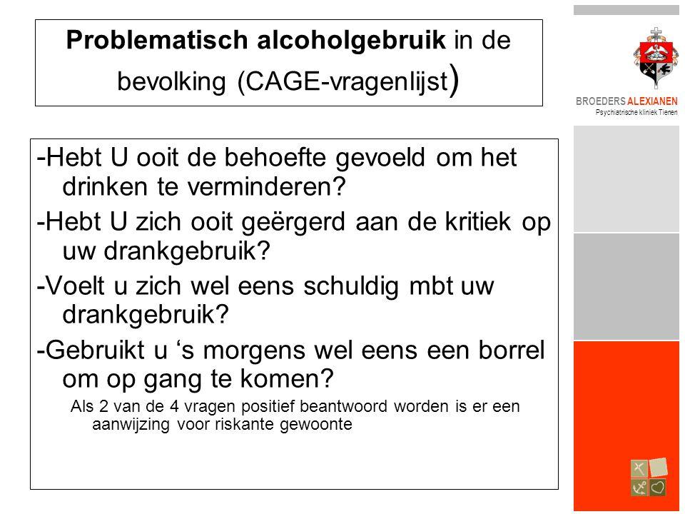BROEDERS ALEXIANEN Psychiatrische kliniek Tienen - Hebt U ooit de behoefte gevoeld om het drinken te verminderen.
