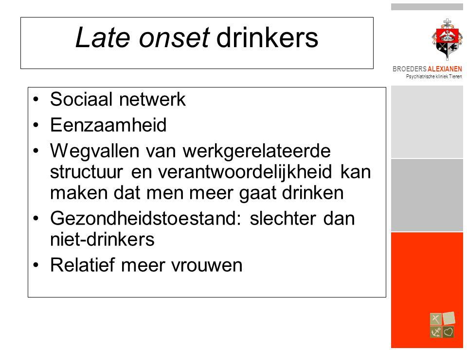 BROEDERS ALEXIANEN Psychiatrische kliniek Tienen Late onset drinkers •Sociaal netwerk •Eenzaamheid •Wegvallen van werkgerelateerde structuur en verantwoordelijkheid kan maken dat men meer gaat drinken •Gezondheidstoestand: slechter dan niet-drinkers •Relatief meer vrouwen