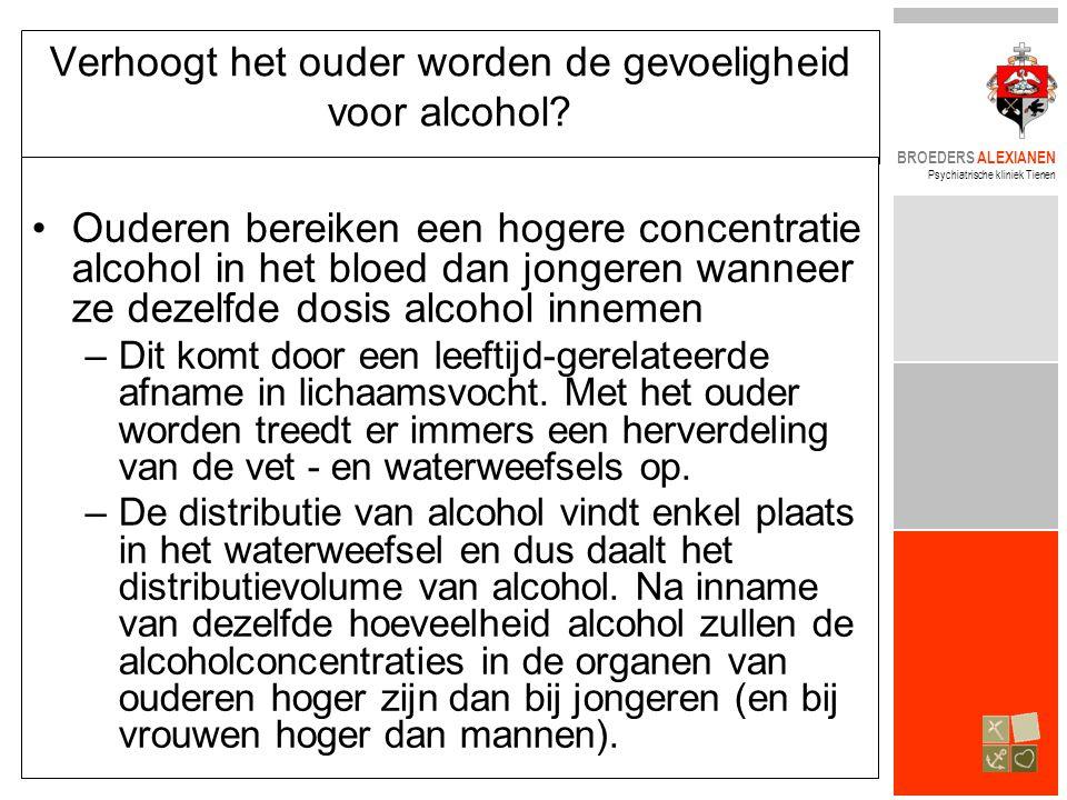 BROEDERS ALEXIANEN Psychiatrische kliniek Tienen Verhoogt het ouder worden de gevoeligheid voor alcohol? •Ouderen bereiken een hogere concentratie alc