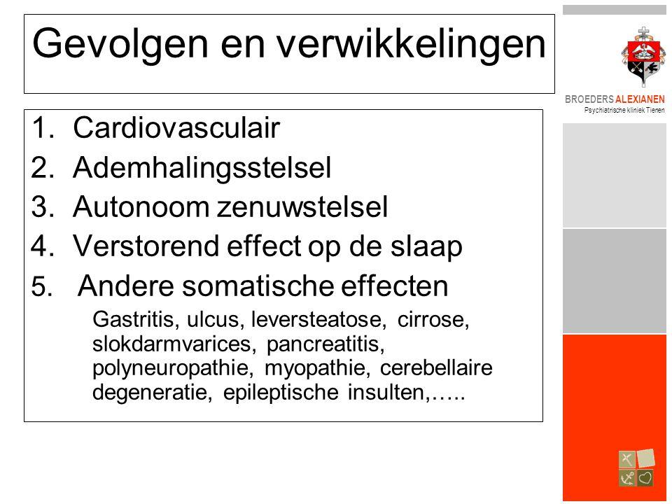 BROEDERS ALEXIANEN Psychiatrische kliniek Tienen Gevolgen en verwikkelingen 1.Cardiovasculair 2.Ademhalingsstelsel 3.Autonoom zenuwstelsel 4.Verstoren