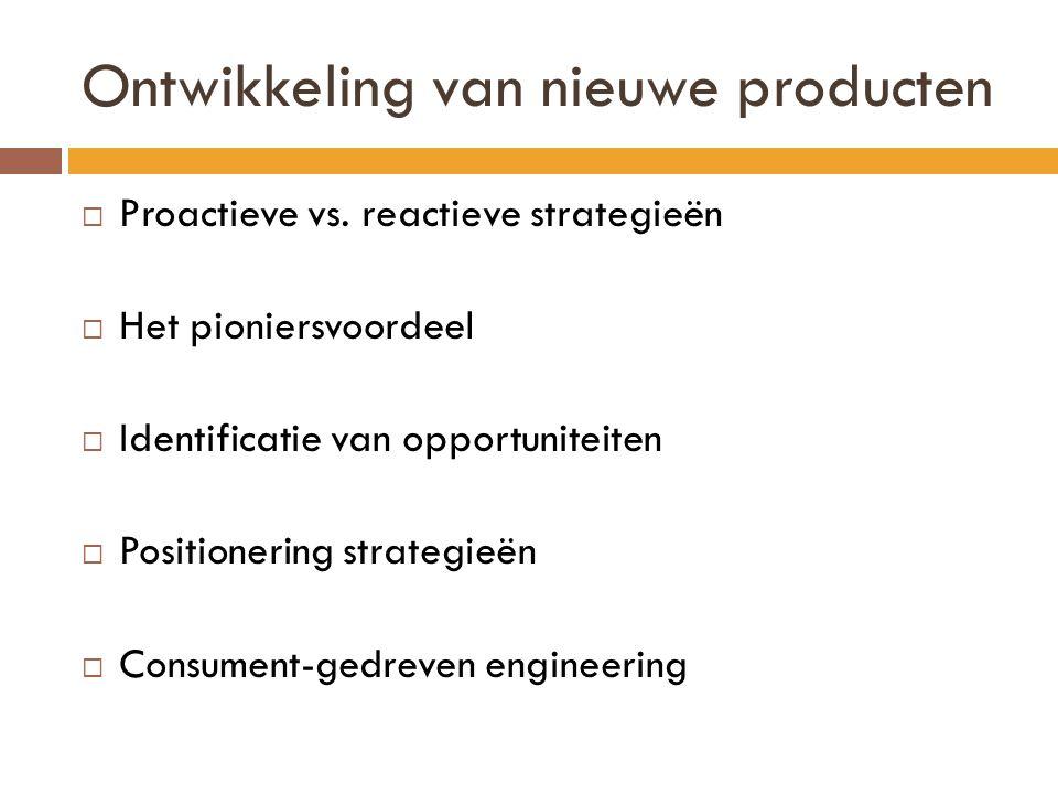 Ontwikkeling van nieuwe producten  Proactieve vs.