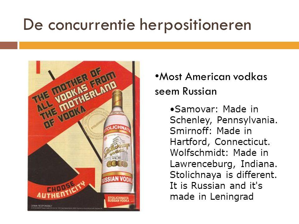 De concurrentie herpositioneren •Most American vodkas seem Russian •Samovar: Made in Schenley, Pennsylvania.