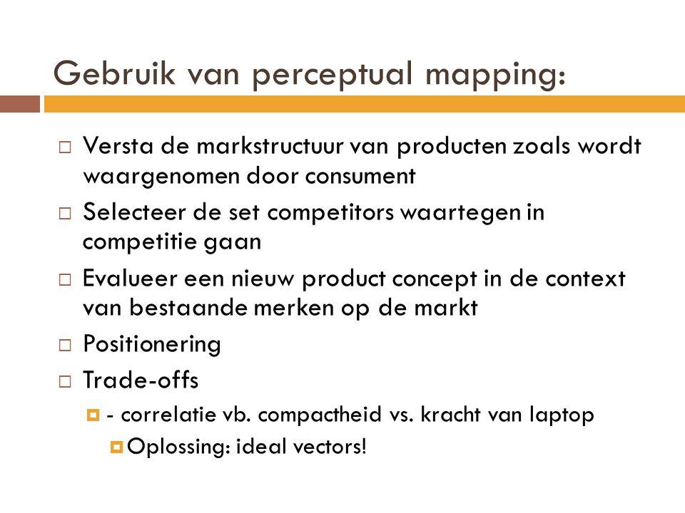 Gebruik van perceptual mapping:  Versta de markstructuur van producten zoals wordt waargenomen door consument  Selecteer de set competitors waartegen in competitie gaan  Evalueer een nieuw product concept in de context van bestaande merken op de markt  Positionering  Trade-offs  - correlatie vb.