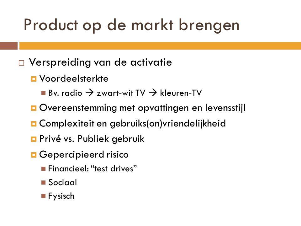 Product op de markt brengen  Verspreiding van de activatie  Voordeelsterkte  Bv.