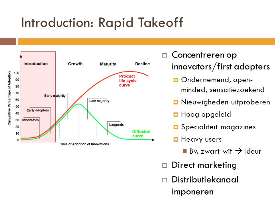 Introduction: Rapid Takeoff  Concentreren op innovators/first adopters  Ondernemend, open- minded, sensatiezoekend  Nieuwigheden uitproberen  Hoog opgeleid  Specialiteit magazines  Heavy users  Bv.