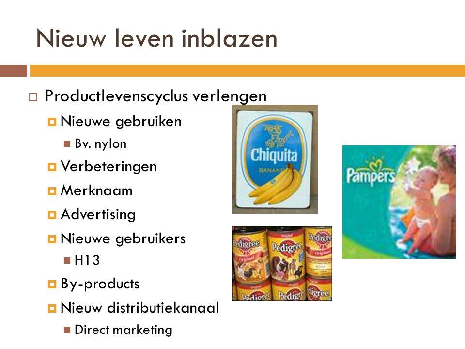 Nieuw leven inblazen  Productlevenscyclus verlengen  Nieuwe gebruiken  Bv.