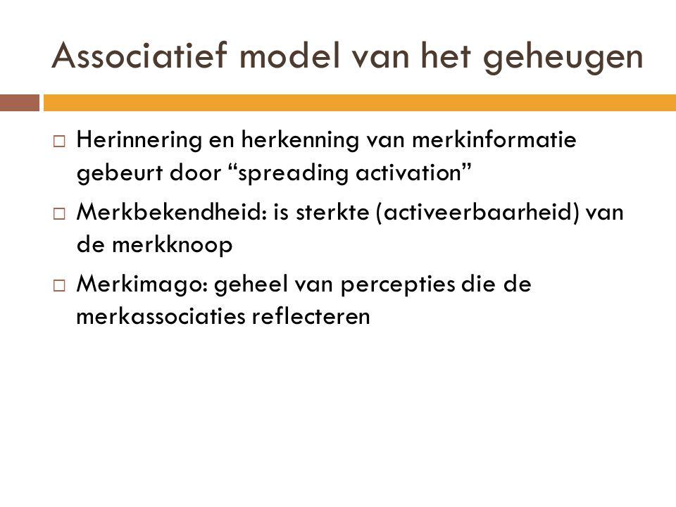 Associatief model van het geheugen  Herinnering en herkenning van merkinformatie gebeurt door spreading activation  Merkbekendheid: is sterkte (activeerbaarheid) van de merkknoop  Merkimago: geheel van percepties die de merkassociaties reflecteren