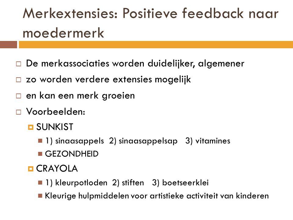 Merkextensies: Positieve feedback naar moedermerk  De merkassociaties worden duidelijker, algemener  zo worden verdere extensies mogelijk  en kan een merk groeien  Voorbeelden:  SUNKIST  1) sinaasappels 2) sinaasappelsap 3) vitamines  GEZONDHEID  CRAYOLA  1) kleurpotloden 2) stiften 3) boetseerklei  Kleurige hulpmiddelen voor artistieke activiteit van kinderen