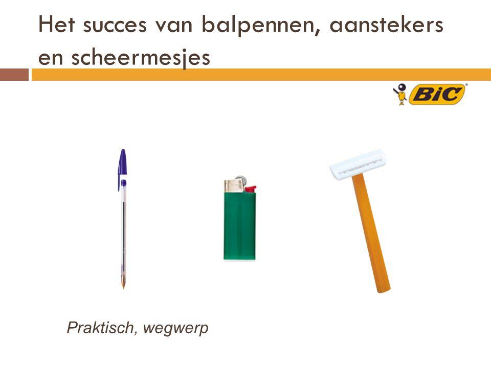 Het succes van balpennen, aanstekers en scheermesjes Praktisch, wegwerp