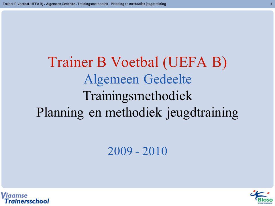 Trainer B Voetbal (UEFA B) - Algemeen Gedeelte - Trainingsmethodiek – Planning en methodiek jeugdtraining1 Trainer B Voetbal (UEFA B) Algemeen Gedeelte Trainingsmethodiek Planning en methodiek jeugdtraining 2009 - 2010