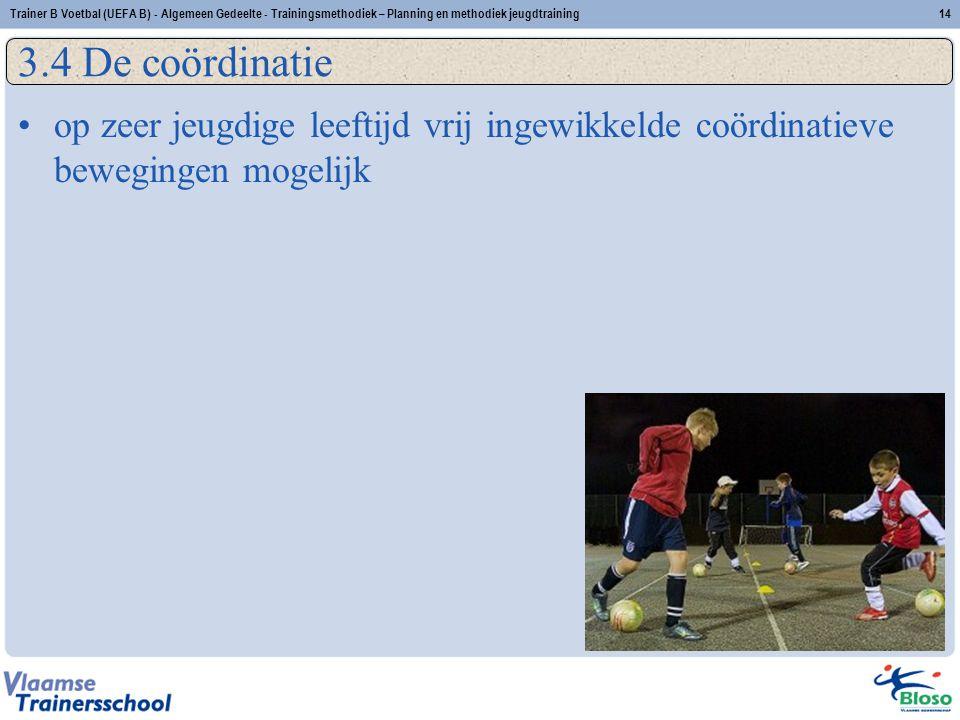 •op zeer jeugdige leeftijd vrij ingewikkelde coördinatieve bewegingen mogelijk 3.4 De coördinatie 14Trainer B Voetbal (UEFA B) - Algemeen Gedeelte - Trainingsmethodiek – Planning en methodiek jeugdtraining