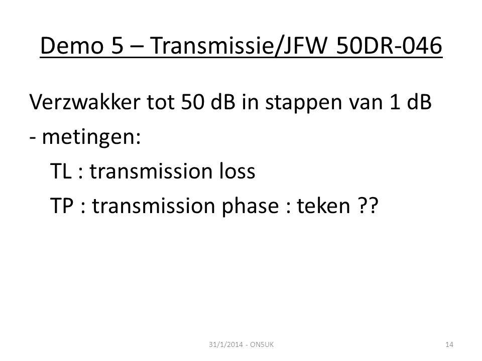 Demo 5 – Transmissie/JFW 50DR-046 31/1/2014 - ON5UK14 Verzwakker tot 50 dB in stappen van 1 dB - metingen: TL : transmission loss TP : transmission phase : teken ??