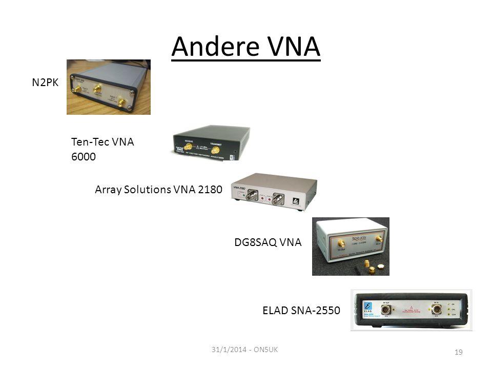 Andere VNA 31/1/2014 - ON5UK 19 N2PK Ten-Tec VNA 6000 Array Solutions VNA 2180 DG8SAQ VNA ELAD SNA-2550