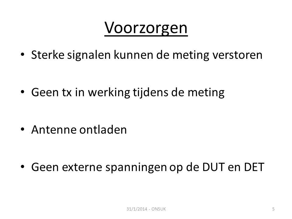 Voorzorgen • Sterke signalen kunnen de meting verstoren • Geen tx in werking tijdens de meting • Antenne ontladen • Geen externe spanningen op de DUT en DET 31/1/2014 - ON5UK5